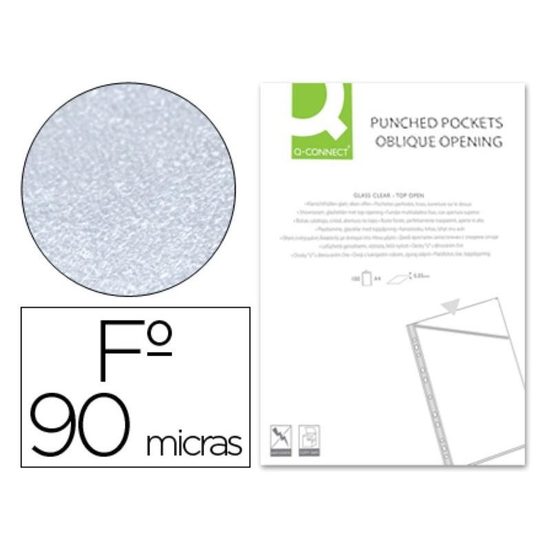 Funda plastica con corte oblicuo y taladro folio 06041