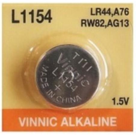 Pila L1154 LR44 A76 Vinnic de boton alkalina