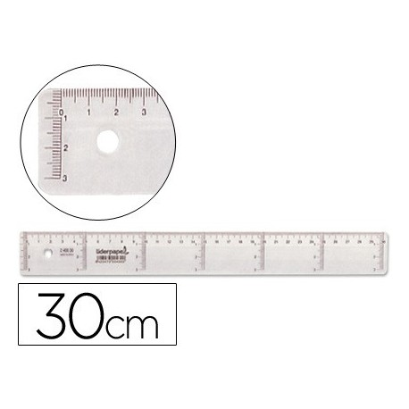 Regla de plastico cristal 30cm