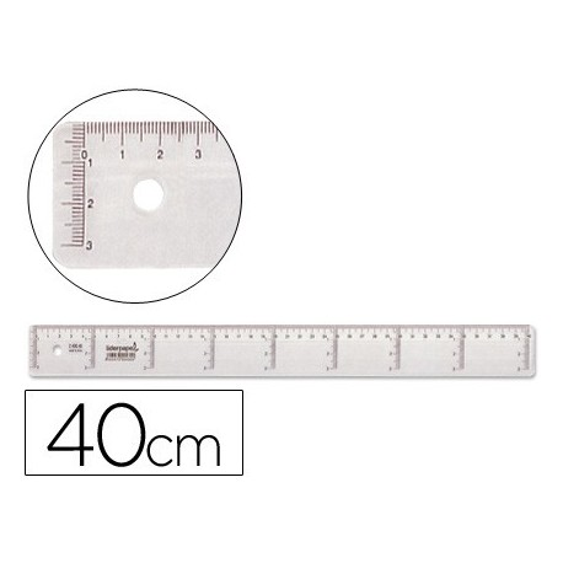 Regla de plastico cristal 40cm
