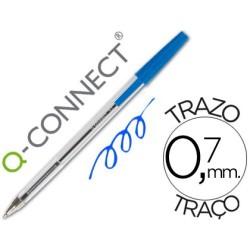 Boligrafo Q-connect azul transparente 26039