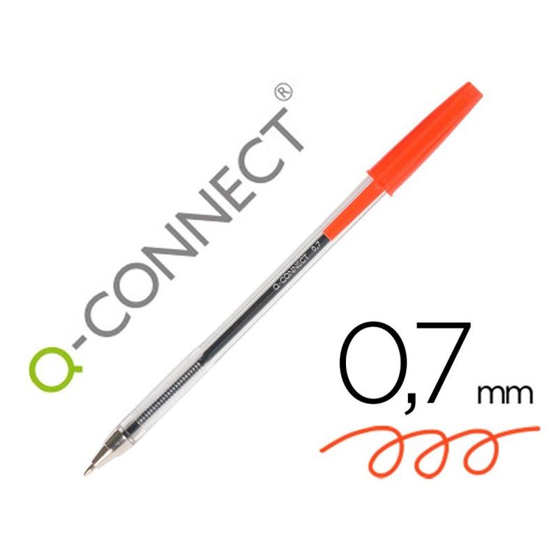 Boligrafo Q-connect rojo transparente 26041