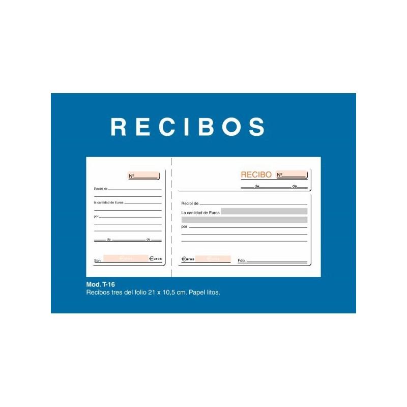 TALONARIO DE RECIBOS LOAN MOD.T16 1/3 SIMPLE