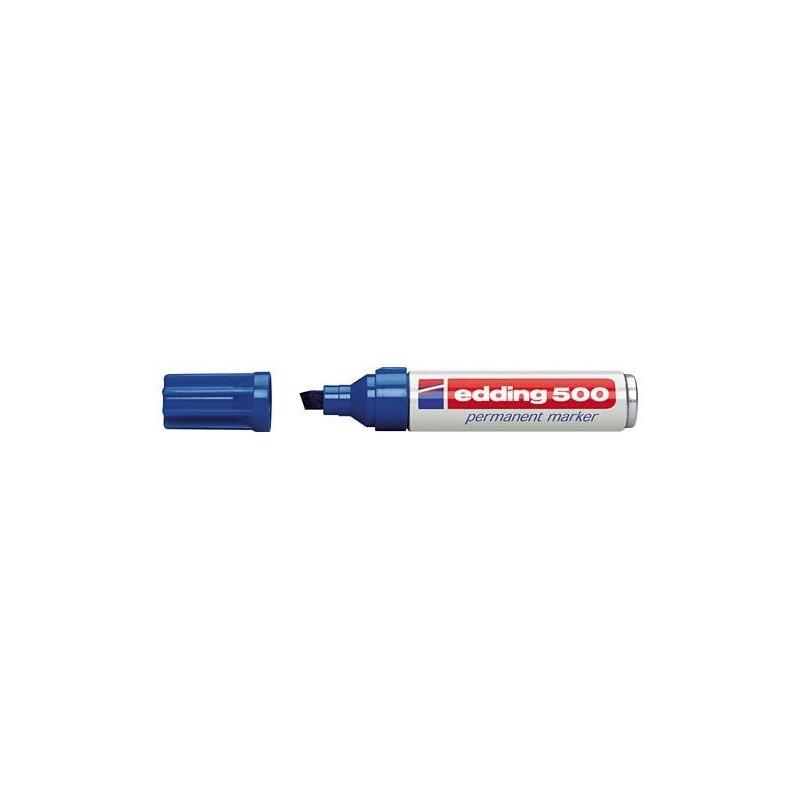 Edding 500 marcador permanente punta biselada azul