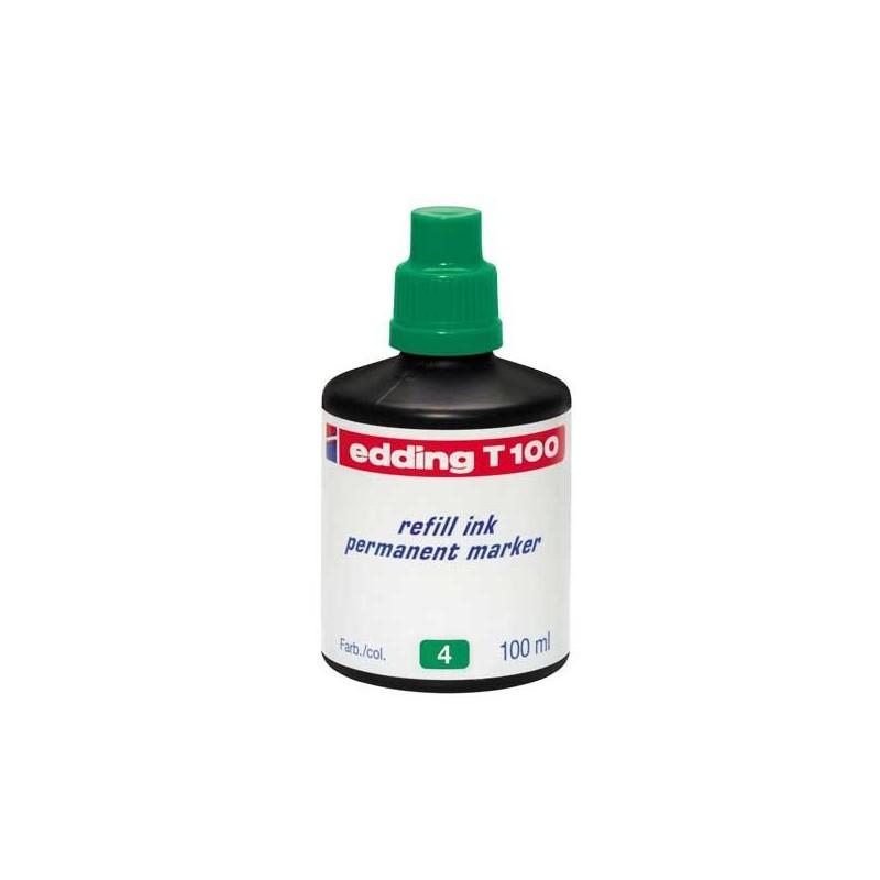 Bote de recarga tinta permanente Edding T100 verde