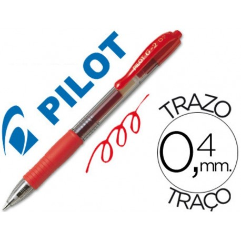 Boligrafo Pilot G-2 retractil rojo tinta gel con grip