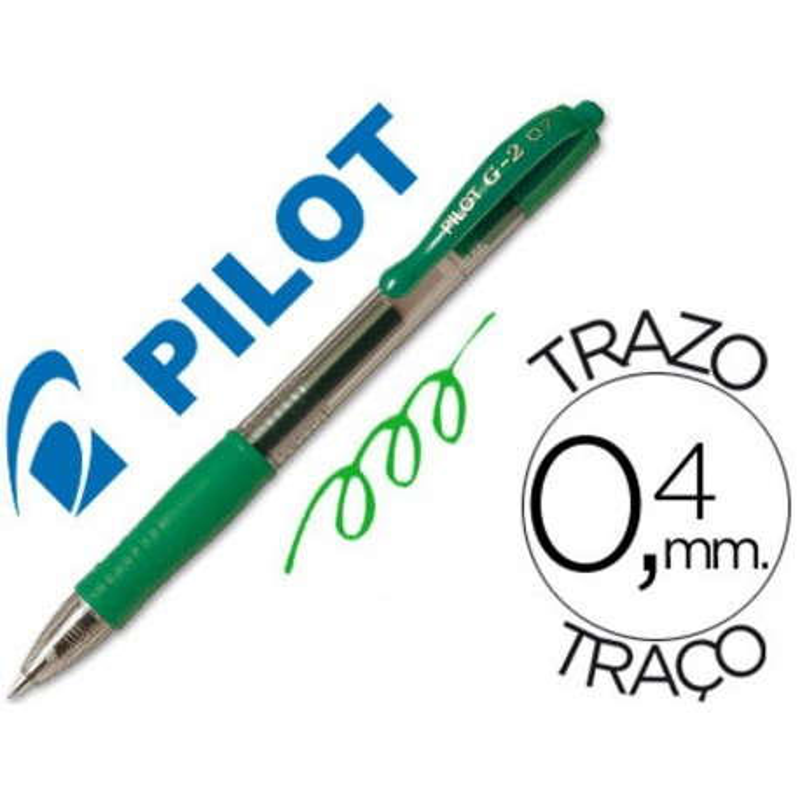Boligrafo Pilot G-2 retractil verde tinta gel con grip