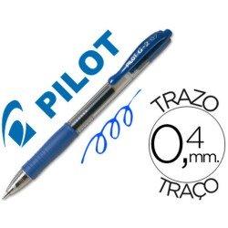 Boligrafo Pilot G-2 retractil azul tinta gel con grip